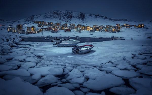 Nuuk Greenland Winter Night