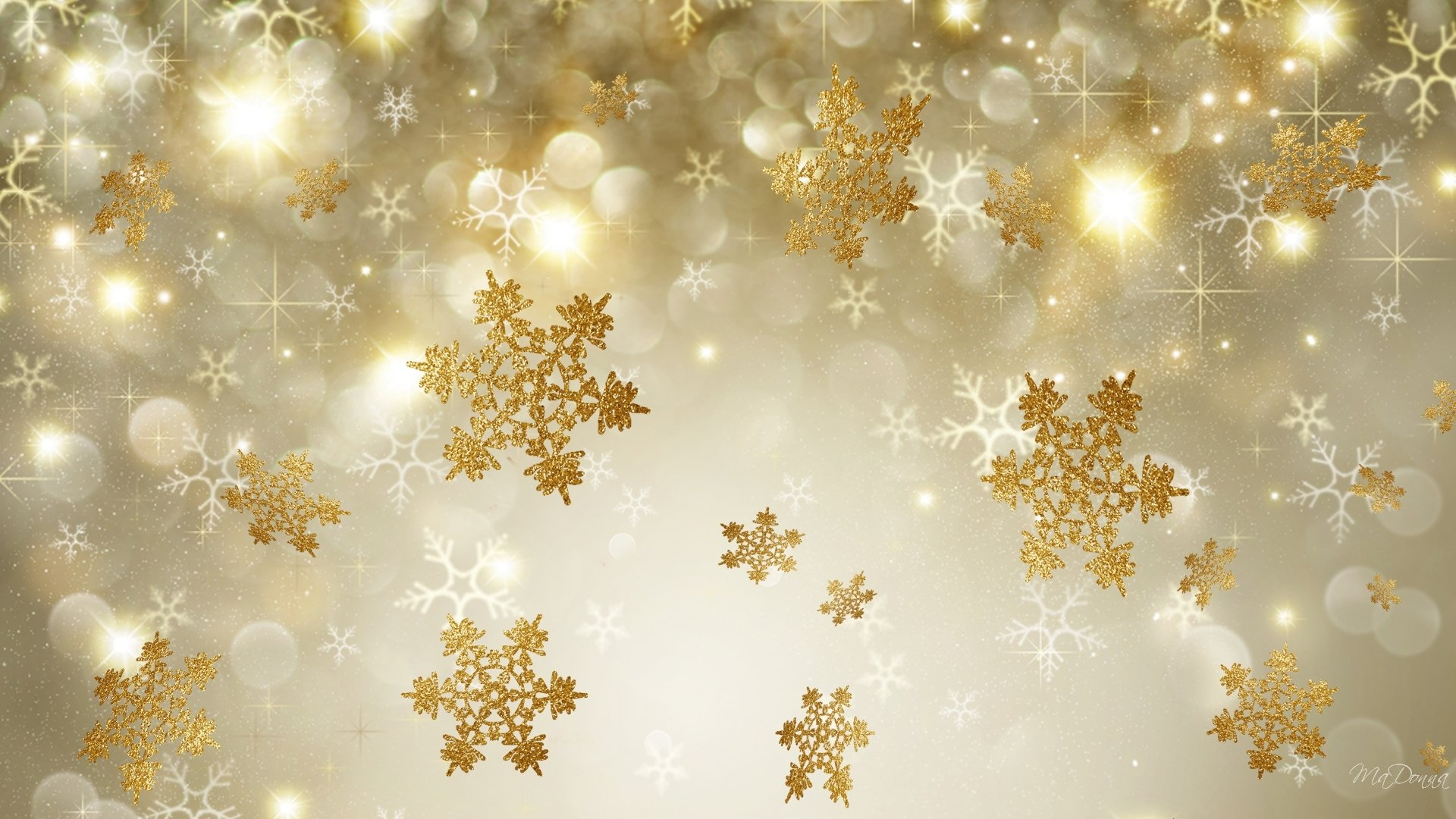 Iphone 5 Falling Snow Wallpaper Golden Snowflakes Hd Wallpaper Background Image