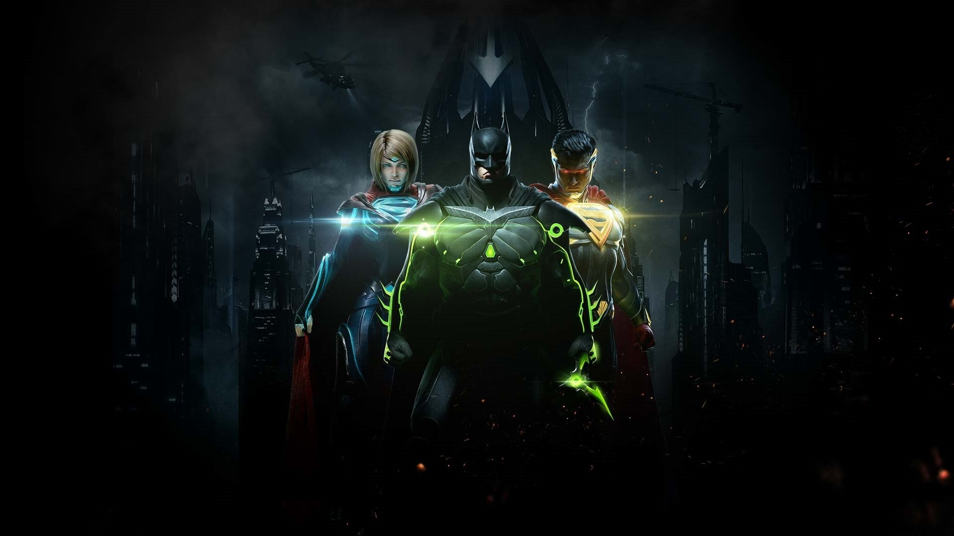 Injustice 2 cover art with Batman, Supergirl, and Superman, all wearing special armor.