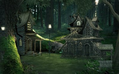 Cottages in Enchanted Forest HD Wallpaper Background Image 1920x1200 ID:828946 Wallpaper Abyss