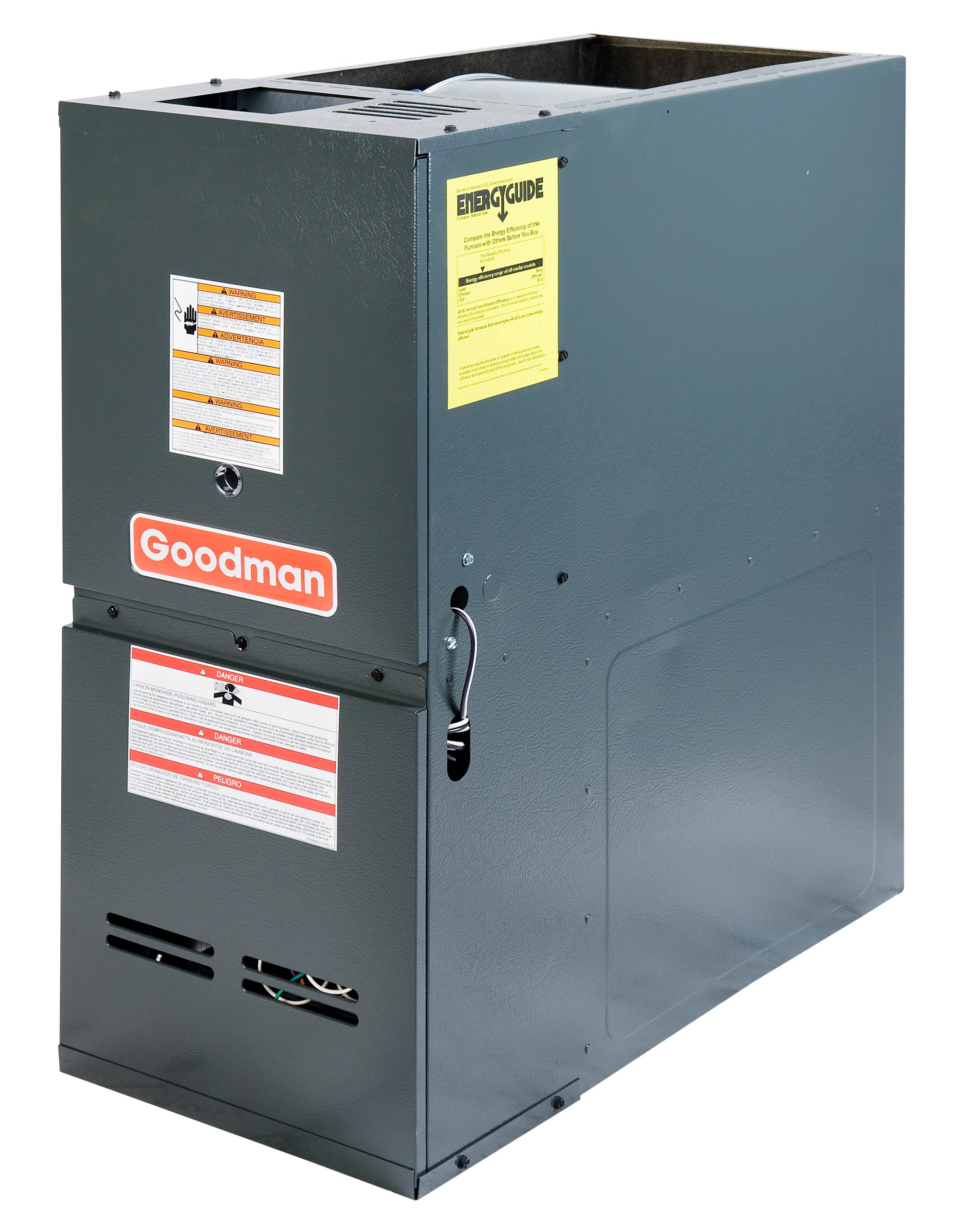 hight resolution of goodman gdh81005cn 100 000 btu furnace 80 efficiency 2 stage burner 2 000 cfm multi speed blower dedicated downflow application