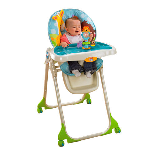 rainforest high chair navy cushions jumperoo recall fisher price precious planet removable tray toy entertains babyish while cat and mouse for a meal