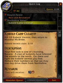 In-game quest log