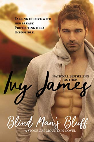 Blind Man's Bluff by Ivy James. The whole cover is washed out in a sepia tone. The hero looks sad, maybe because the zipper on his cozy fleece jacket is broken.