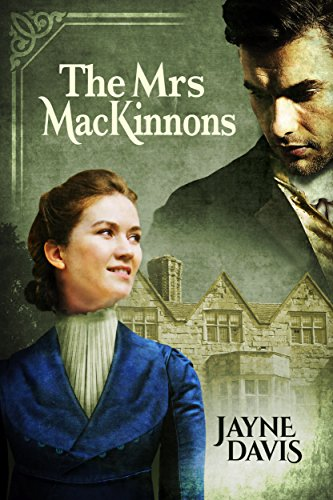 The Mrs. MacKinnons by Jayne Davis. A creepy house is in the background with a woman in the foreground. She has a high collar that is clearly strangling her as she looks up to the disembodied man's face in the sky.