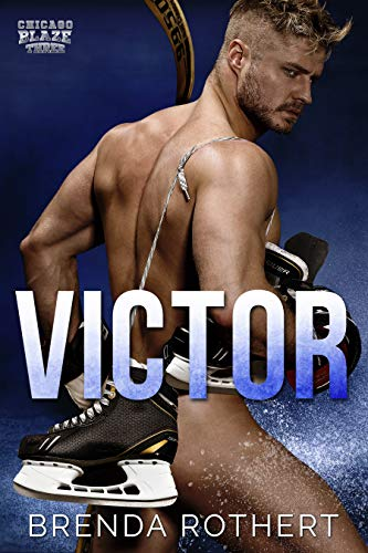 Victor by Brenda Rothert. A naked man is turned to the side, while a pair of hockey skates are slung over his shoulder. They are blocking his bare bum.