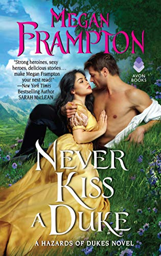 Never Kiss a Duke by Megan Frampton. A woman in a gorgeous dress and a man are lying together in a shady, grassy grove.