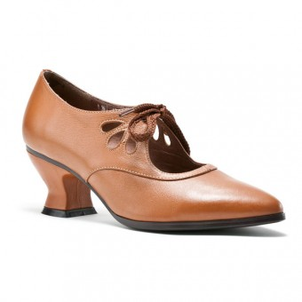 """""""Gibson"""" Edwardian Leather Shoes (Tan/Brown)"""
