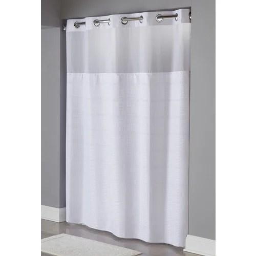 hookless alexandria windowed shower curtain white 71 x 77