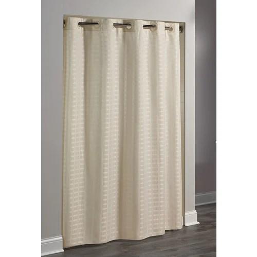 hookless litchfield waffle weave shower curtain 71 x74 beige