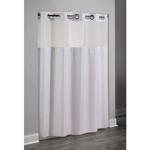 hookless double h herringbone shower curtain white 74 l x 71 w