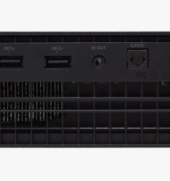 the back features the hdmi input and output ports so microsoft has kept the tv input capabilities intact there s also two usb 3 0 type a ports  [ 4913 x 1467 Pixel ]