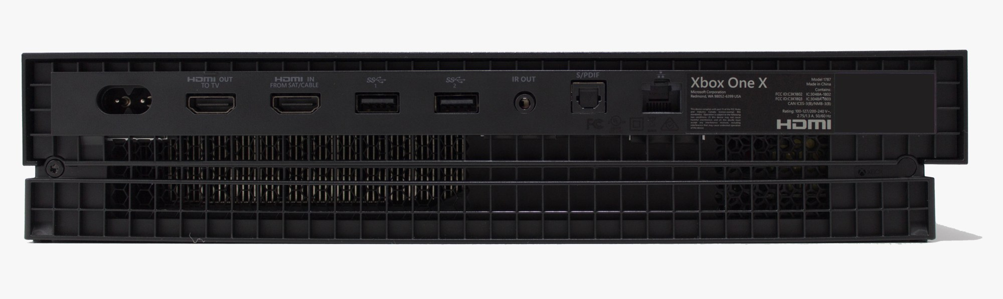 hight resolution of the back features the hdmi input and output ports so microsoft has kept the tv input capabilities intact there s also two usb 3 0 type a ports