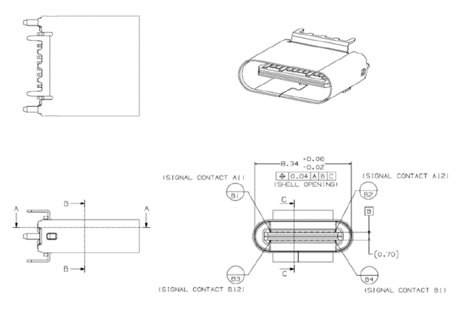 micro usb female connector diagram