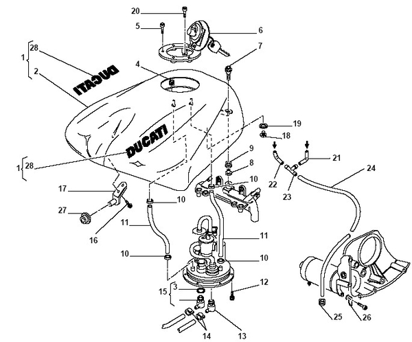 Ducati 748-916-996 Fuel Line Reurn Connector Male
