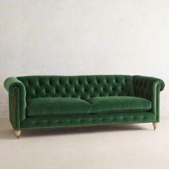 Emerald Green Velvet Sofa Bed Large Modular Corner Lyre Chesterfield Wilcox Anthropologie
