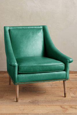 blue green chair compact camp premium leather tillie armchair anthropologie