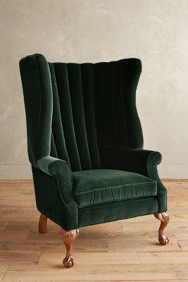 formal living room curtains stylish furniture velvet english fireside chair | anthropologie