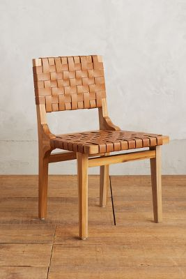 basket weave dining chairs hunting chair blind leather loom anthropologie