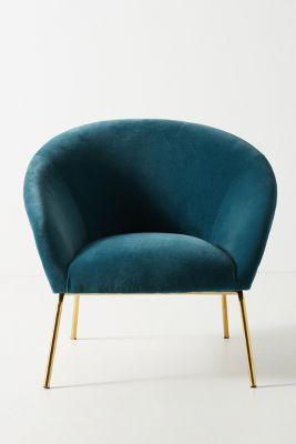 teal accent chair ergonomic chairs north ryde velvet hillside anthropologie slide view 1