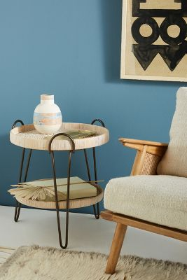rattan side tables living room abstract artwork for coiled table anthropologie