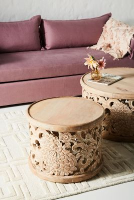 burlesque pink sofa vango inflatable camping review unique furniture designer anthropologie handcarved lotus side table