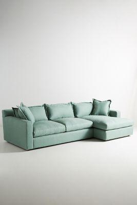 belgian linen sofa nailhead sectional katina right anthropologie slide view 1