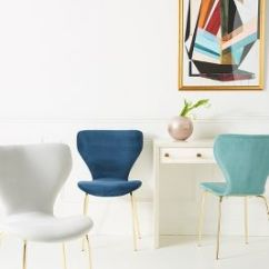 Blue Kitchen Chairs Black And White Table Dining Room Stools Anthropologie Velvet Gibson Chair