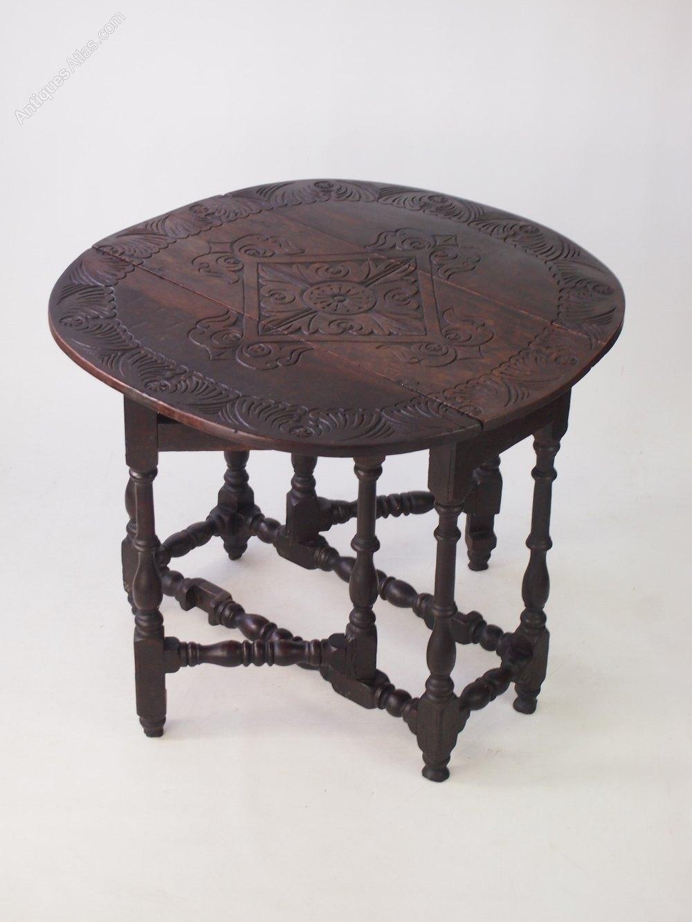 Antique Carved Oak Gate Leg Table Antiques Atlas