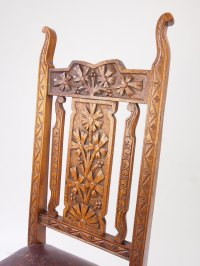 Antique Carved Oak High Back Chair Hall Chair - Antiques Atlas