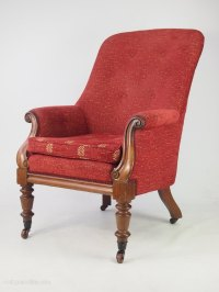Antique Victorian Mahogany Armchair Library Chair ...