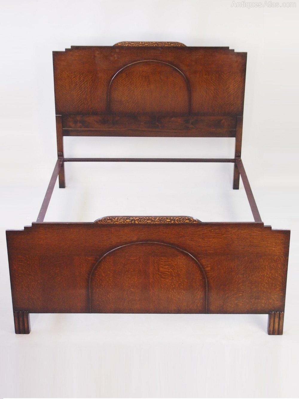 Art Deco Oak Standard Double Bed