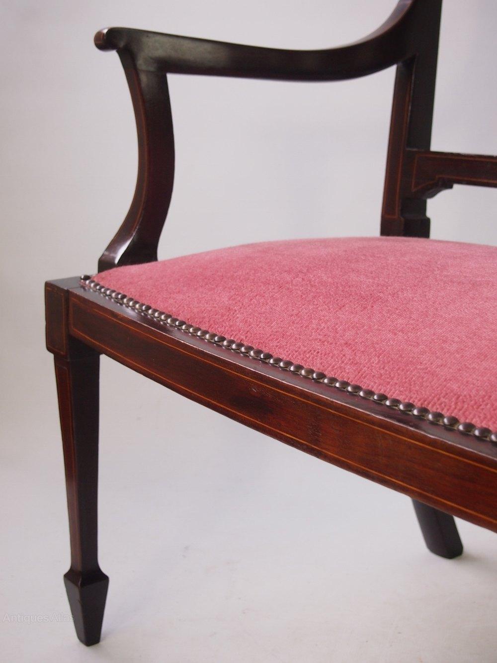 pink sofa dating uk mah jong size edwardian mahogany inlaid settee or - antiques atlas