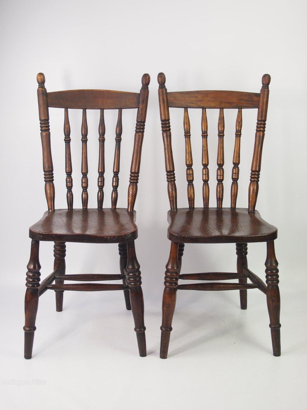 Pair Antique Victorian Kitchen Chairs  Antiques Atlas