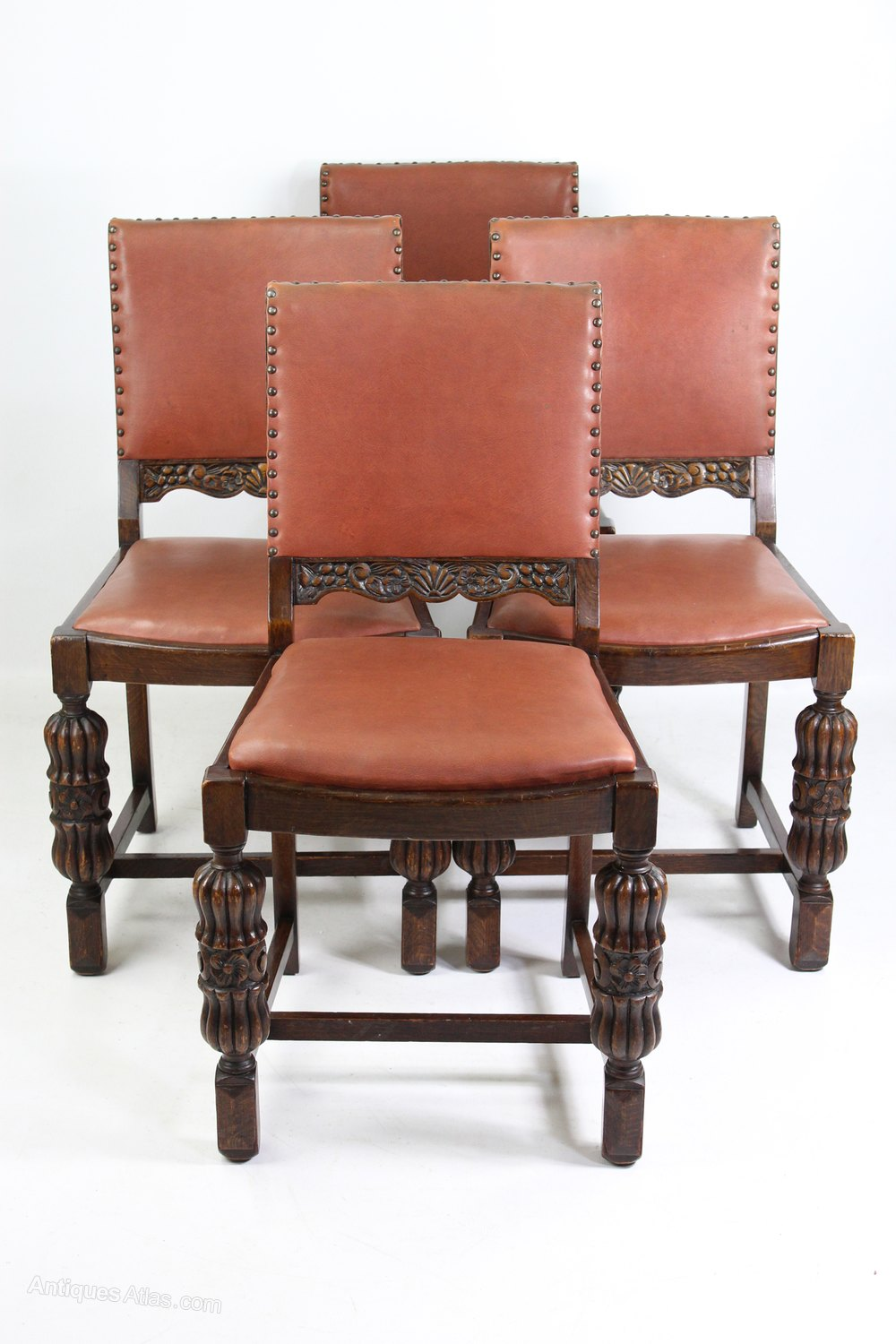 Art Deco Dining Chairs Set 4 Vintage Art Deco Oak Dining Chairs