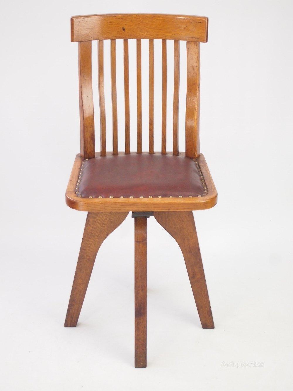 Small Oak Swivel Desk Chair  Antiques Atlas