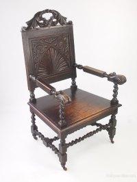 Victorian Gothic Oak Throne Chair Wainscot Chair ...