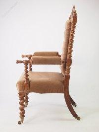 Victorian Gothic Walnut Armchair Or Throne Chair ...
