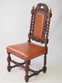 Victorian Oak & Leather Gothic Revival Chair - Antiques Atlas