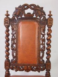 Victorian Oak & Leather Gothic Revival Chair - Antiques Atlas