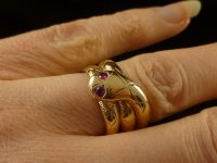 Antiques Atlas - Antique Coiled Gold Snake Ring With Ruby Eyes