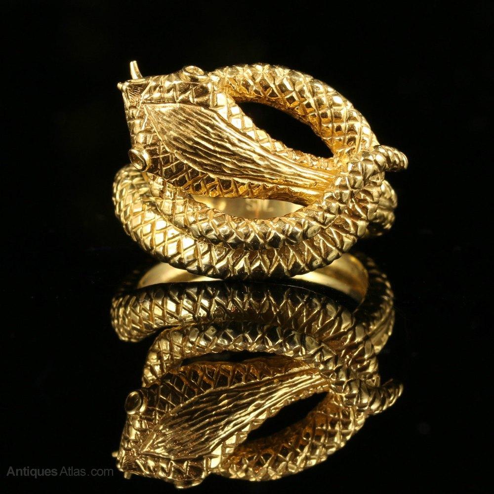 Antiques Atlas  Gold Serpent Snake Ring 18ctsilver
