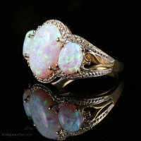 Antiques Atlas - Opal Diamond Trilogy Ring 6ct Opal 9ct Gold