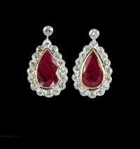 Antiques Atlas - Ruby Diamond Earrings 18ct Gold 8.6ct ...