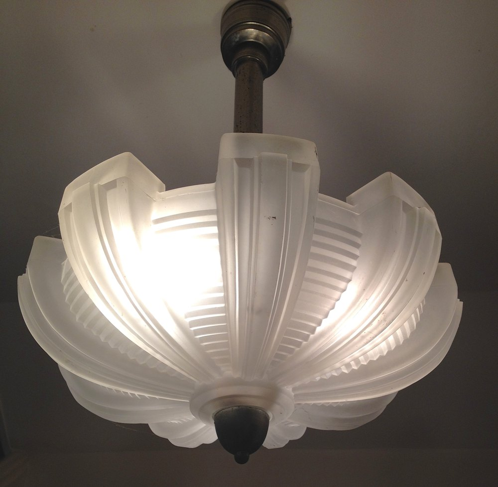 Antiques Atlas  Art Deco Ceiling Lamp Chrome And Pate De
