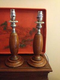 Antiques Atlas - Pair Art Deco Consol Or Mantel Lamps In Oak