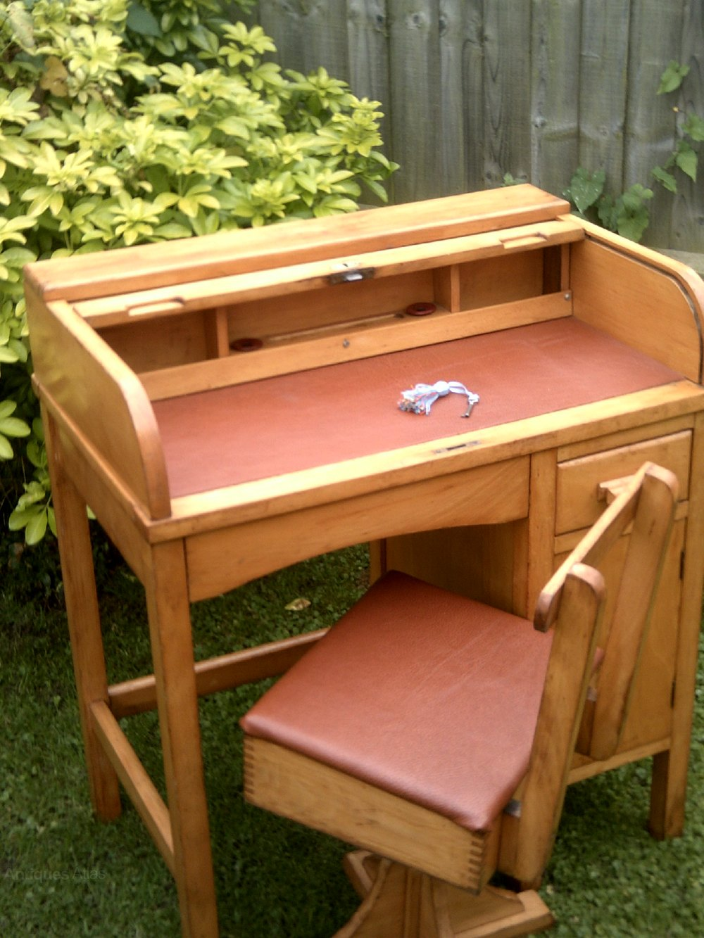 Childs Roll Top Desk With Swivel Chair  Antiques Atlas