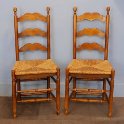 Antique Ladder Back Chairs With Rush Seats Recliner Garden Set Six Continental Ladderback Dining - Antiques Atlas