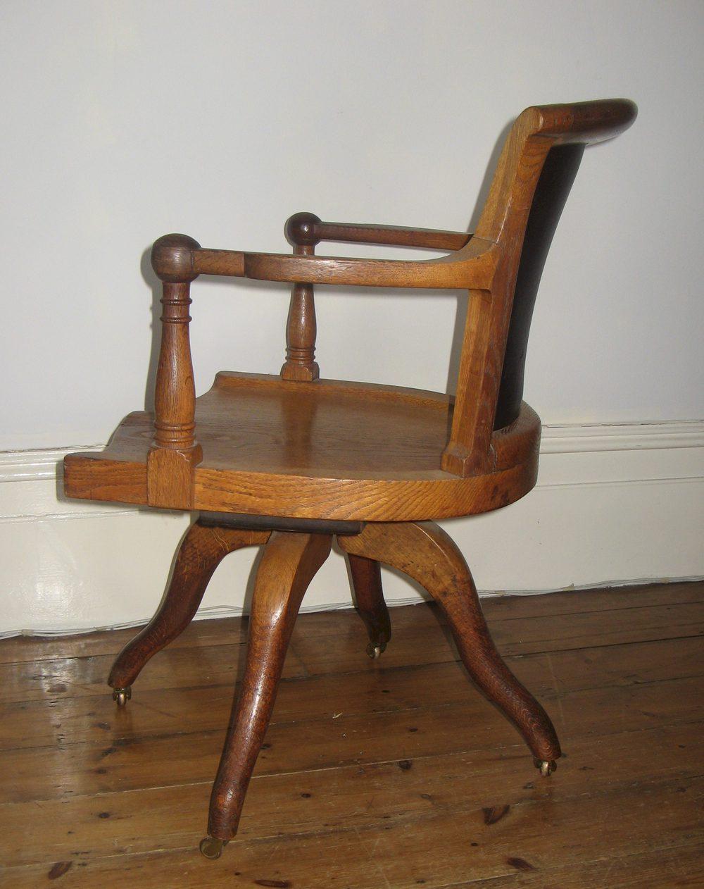 Edwardian Oak Swivel Desk Chair  Antiques Atlas