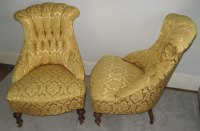 Pair Of Victorian Button Back Boudoir Armchairs - Antiques ...